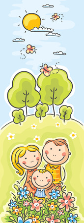 family cartoon: Vertical family banner, no gradients