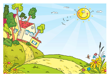 Countryside landscape with hills and houses, no gradients Vector