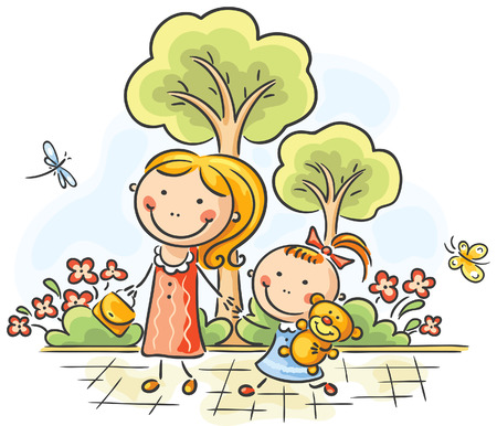 Mother and daughter with toy walking in the park Vector