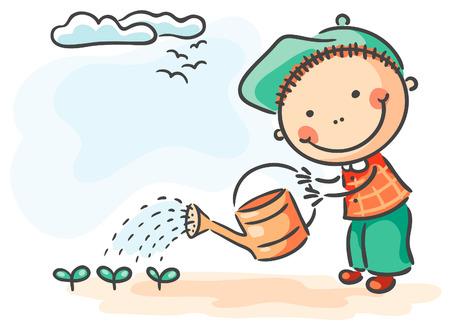 Happy children spring activities: boy watering sprouts Иллюстрация