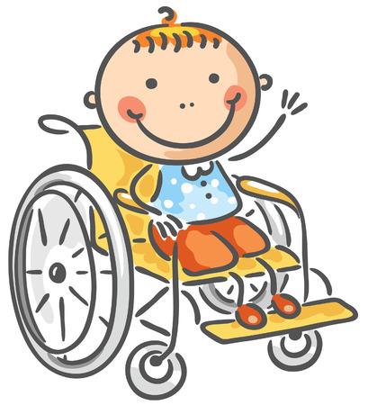 ni�o discapacitado: Un chico amigable en silla de ruedas Vectores