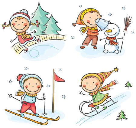 cartoon little girl: Happy kids winter outdoors activities