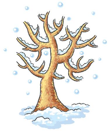 Winter tree drawing, no gradients Illustration