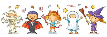 Jogo das crianças coloridas em trajes de Halloween Ilustração