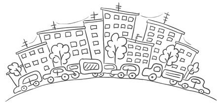 row houses: Cartoon cityscape, black and white Illustration