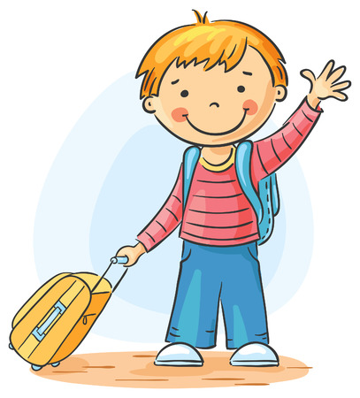 Child with a suitcase and backpack is leaving and waving goodbye