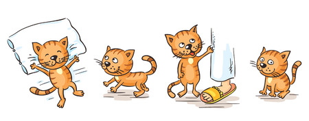 Cartoon cat character in different poses Illustration