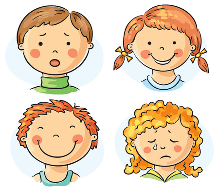 Set of 4 cartoon kids faces with different emotions Иллюстрация