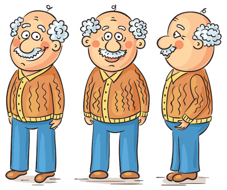 angle views: Cartoon grandfather character at different angles