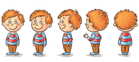from side: Little boy cartoon character turnaround