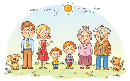 Big happy cartoon family outdoors Stock Illustratie