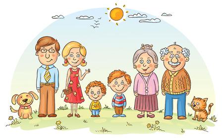 grandparents: Big happy cartoon family outdoors Illustration
