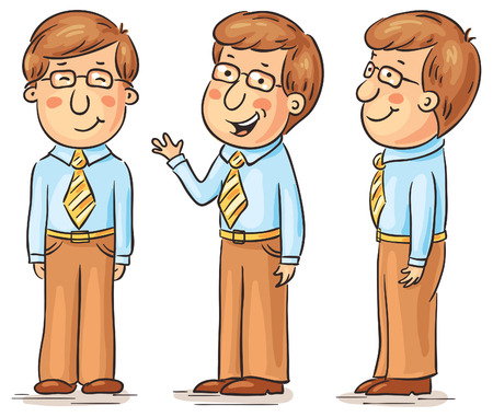 side profile: Young man cartoon character at different angles