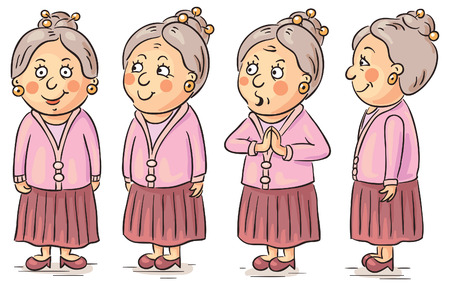 woman side view: Grandmother cartoon character at different angles Illustration