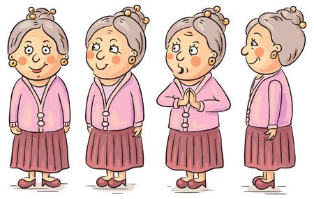 Personaje de dibujos animados de la abuela en diferentes ángulos Vectores
