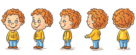 side view: Happy baby cartoon character turnaround