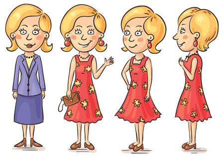 Young woman cartoon character at different angles Иллюстрация