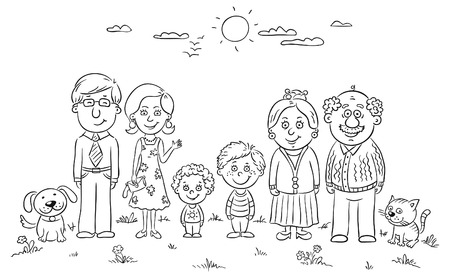 Grote gelukkige familie in openlucht, zwart en wit