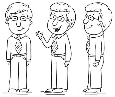 bocetos de personas: Car�cter joven hombre de dibujos animados en diferentes poses
