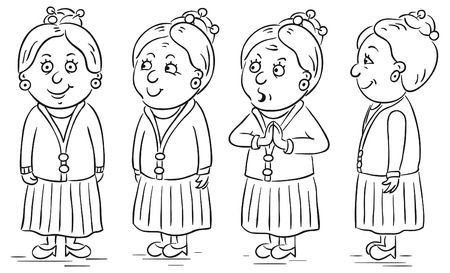 grandmother: Grandmother cartoon character in different poses