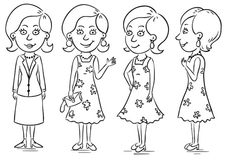 cartoon character: Young woman cartoon character in different poses