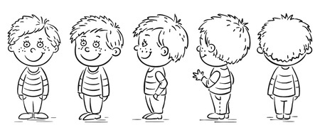 Little boy cartoon character turnaround