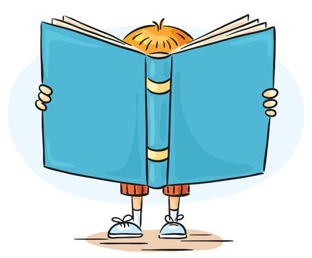 El niño pequeño es una que lee un libro tan grande, que nadie lo puede ver detrás de ella.