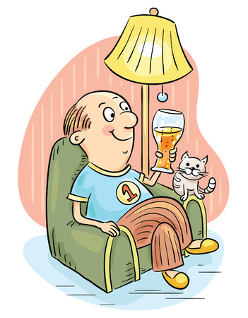 slipper: Man relaxing in an arm-chair drinking a glass of beer.