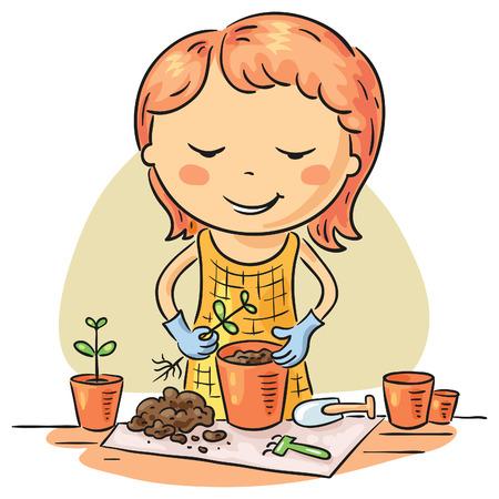 Girl planting seedlings into flowerpots. 向量圖像