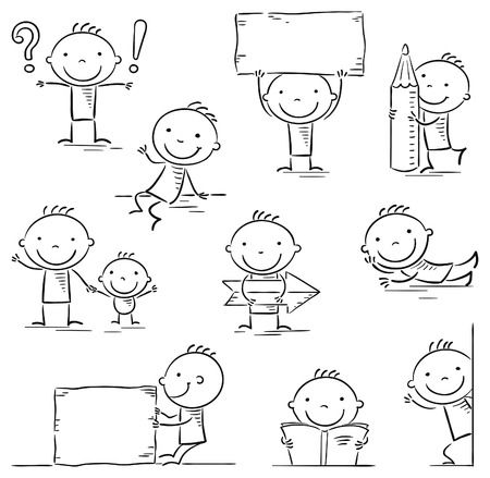 man holding book: A stick figure cartoon character in different poses with signs and objects, black and white Illustration
