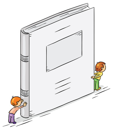 big and small: Small cartoon characters holding a big book with copy space