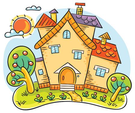 Colorful casa di campagna con giardino stilizzato Archivio Fotografico - 34050511