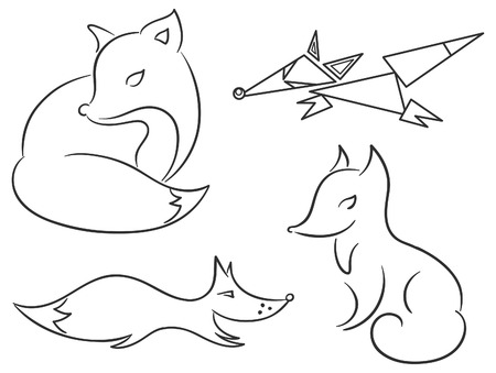 differently: Set of four differently stylized fox sketches, outlines Illustration