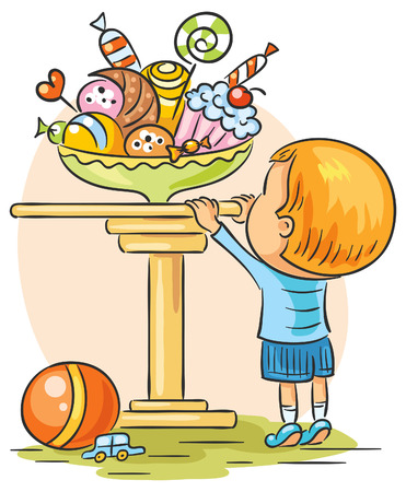 cake stand: Little boy wants to have some sweets