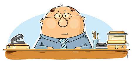 functionary: Cartoon office worker at the table with papers and folders