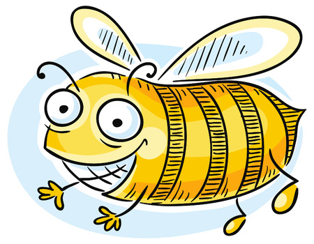 admiration: Funny cartoon bee is looking at something with admiration