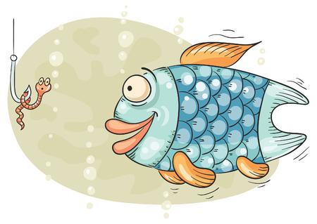 gusano caricatura: Peces hambrientos va a tragar el cebo, el anzuelo y el gusano tiene miedo