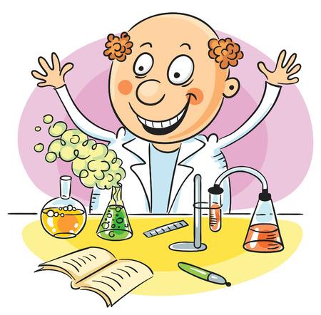 Gelukkig wetenschapper heeft een geslaagd experiment in de chemie uitgevoerd Stock Illustratie