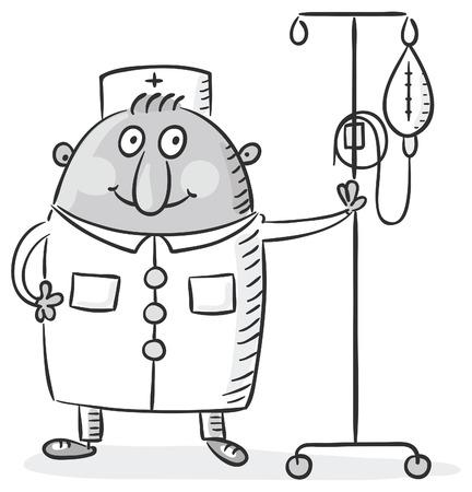 Infirmier avec un compteur caricature chute, noir et blanc