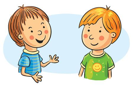 Two cartoon boys talking, no gradients