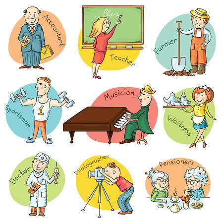 bookkeeper: Conjunto profesi�n Cartoon incluyendo camarero, maestro, atleta, pianista, m�dico, fot�grafo, tenedor de libros, agricultor