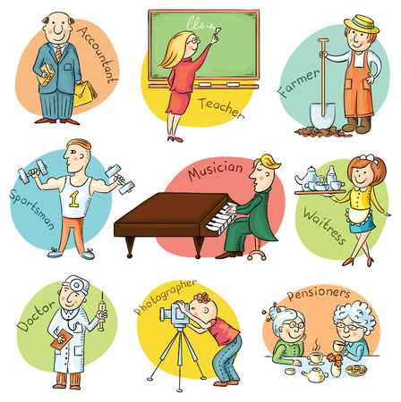 Cartoon profession set including waiter, teacher, athlete, pianist, doctor, photographer, bookkeeper, farmer Illustration