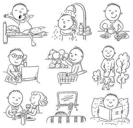 and activities: Cartoon man daily activities set, black and white