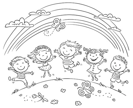 cartoon rainbow: Ni�os saltando de alegr�a en una colina bajo el arco iris, esquema blanco y negro