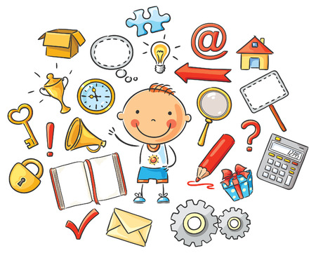 calculator: Cartoon child with different objects and symbols, isolated