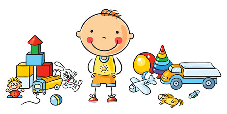 Little cartoon boy with a lot of toys, isolated