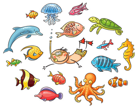 Diver swimming underwater and a set of cartoon sea animals and fishes
