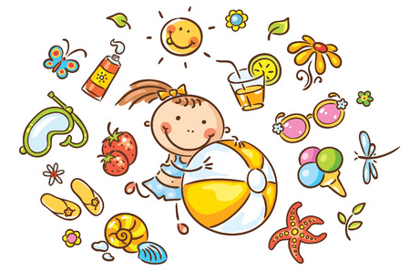 Little girl with a beach ball and many isolated summer things Vector