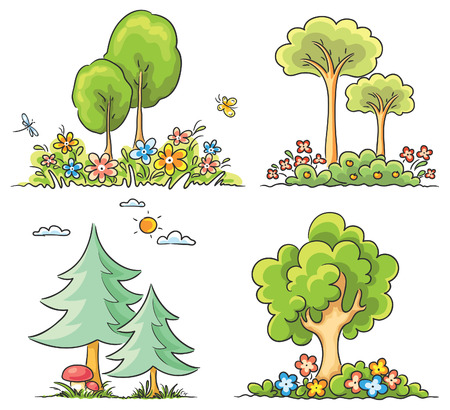 Set of different cartoon trees with flowers Ilustração