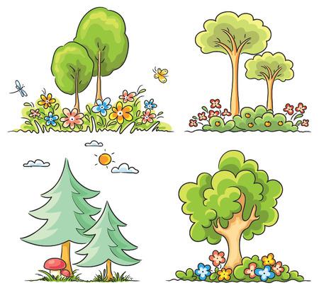 Set van verschillende cartoon bomen met bloemen